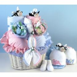 Baby Basket Gift for Twins with boutique quality layette for both babies