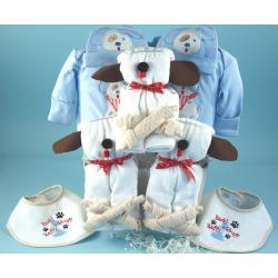 Puppy themed baby gift basket for boy triplets
