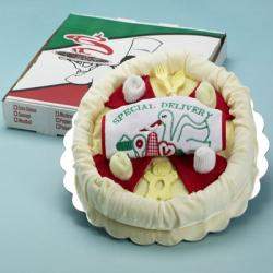 Layette baby gift presented as a Special Delivery Pizza Pie