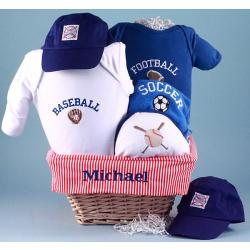Personalized Baby Gift Basket with All Sports Themed Layette for new baby boy