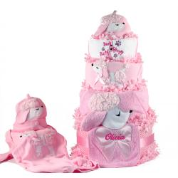 Poodle Diaper Cake Personalized Baby Gift