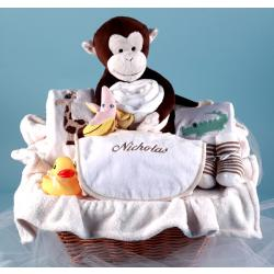 Personalized baby gift basket Monkey & Pals