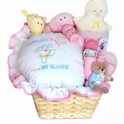 Baby Gift Basket filled with Happiness for newborn baby girl