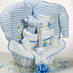 Baby gift basket with catch a star theme for a nw baby boy