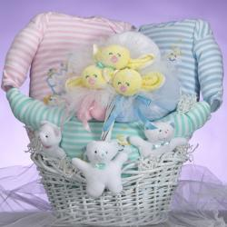 A beautiful baby gift basket made just for triplets