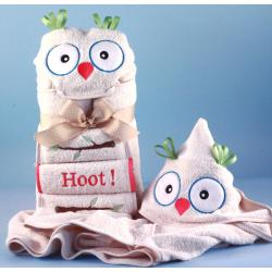 Hooded Towel Personalized Baby Gift with owl character design and decorated baby washcloths