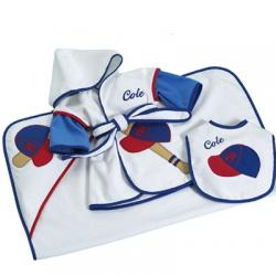 """Little Slugger""  Personalized Baby Gift featuring Cover-Up Hooded Towel & Bib"