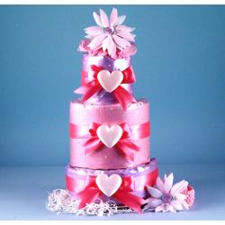 "Diaper Cake ""Little Heart of Mine"" Baby Girl Gift"