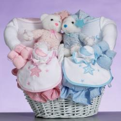"Gift for twins: ""Celestial"" baby gift basket"