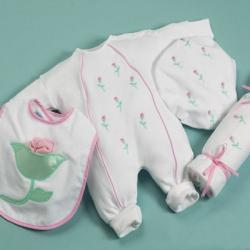Layette Baby Gift featuring Petite Fleur baby outfit, baby blanket & bib,