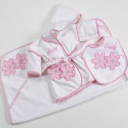 Personalized baby gift -daises 3 piece bath & bib set