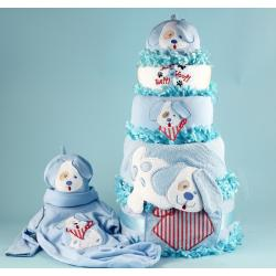 Puppy Love Diaper Cake Baby Boy Gift