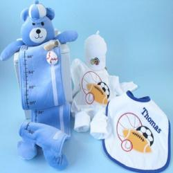 Sport Balls themed layette personalized baby gift with baby outfit,hat,bib & growth chart