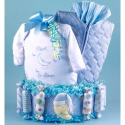 Baby boy diaper cake baby gift with baby gown, baby blanket, quilted baby sack & more.
