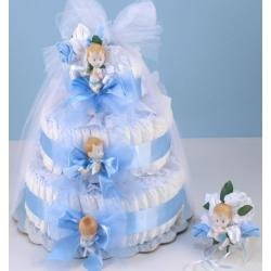 Diaper Cake Delight baby boy Gift with new mommy sock corsage