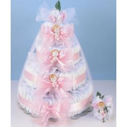 Deluxe Diaper Cake Delight Baby Girl Gift with new mommy sock corsage