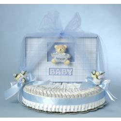 Baby Diaper Cake with Keepsake Photo Album for Baby Boy