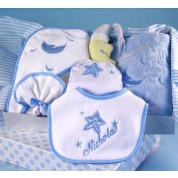 Personalized Baby Gift Moon & Stars layette for baby boy