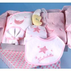 Personalized Baby Gift Moon & Stars layette for baby girl