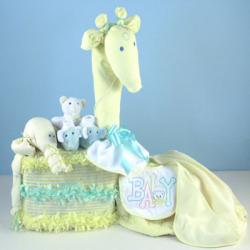 Diaper Cake Gentle Giraffe Baby Shower Gift with unisex layette items & diapers