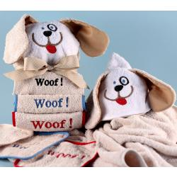 Woof, Woof, Woof, Hooded Towel Wrap for babies and toddlers