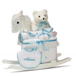 Wood Rocking Horse & Layette Personalized Baby Boy Gift
