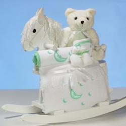 Baby Shower Gift-wood rocking horse with premium layette items, including a baby blanket