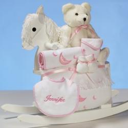 Wood Rocking Horse & Layette Personalized Baby Girl Gift