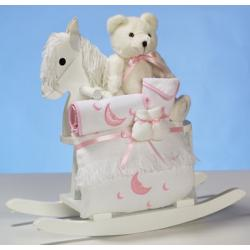 Baby Girl Gift: wood rocking horse & premium layette, including a baby blanket