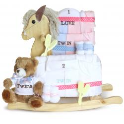 Gift for Twins Rocking Horse & layette baby gift