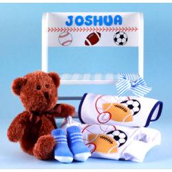 Step Stool Personalized Baby Gift with layette items for newborn baby boy