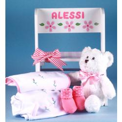 Deluxe Step Stool Personalized Baby Gift with layette items for newborn baby girl