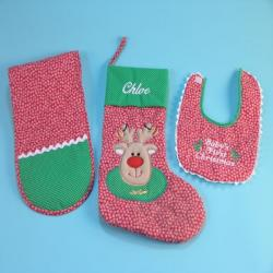Personalized Christmas Stocking Baby Gift Set