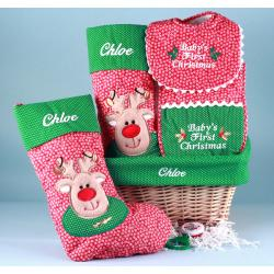 Christmas Stocking Personalized Baby Gift Basket