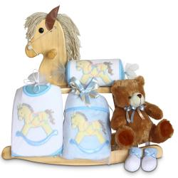 Natural Rocking Horse Baby Boy Gift Set