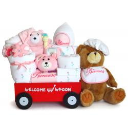 Deluxe Welcome Wagon Baby Girl Gift with 100% cotton layette items for baby