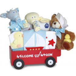 Nautical themed welcome wagon baby boy gift by Silly Phillie