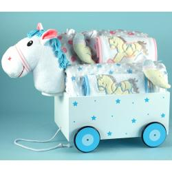 Baby Gift for Twins ffeaturing Pony Wagon pull-toy, baby blanket,  & other layette items