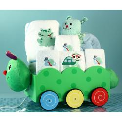 Newborn Baby Gift Set featuring Caterpillar Wagon pull-toy, baby blanket, hooded towel, & other layette items