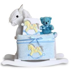 Gift for baby boy: wood rocking horse & premium layette, including a baby blanket