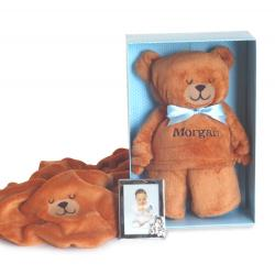 Silly phillie creations inc beary irresistible personalized baby blanket gift set boy negle