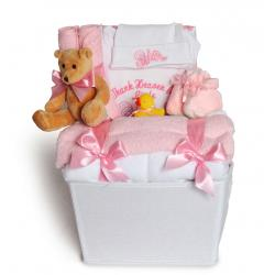 Baby Girl Gift Basket filled with layette by Silly Phillie