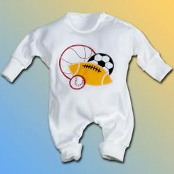 Baby Outfit & hat set or boys with sport balls applique