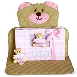 Keepsake Baby Girl Gift: Bear Changing Mat & Photo Album