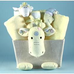 Baby gift Basket with plush giraffe accents and filled with baby boutique quality layette items