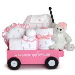 Pretty in Pink Deluxe Welcome Wagon Baby Girl Gift