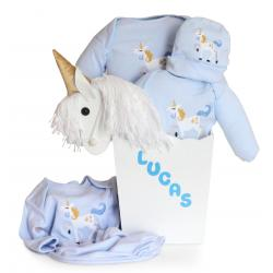 14c2dfb11ea17 Personalized Unicorn Baby Boy Gft Set with Two Room Décor Items